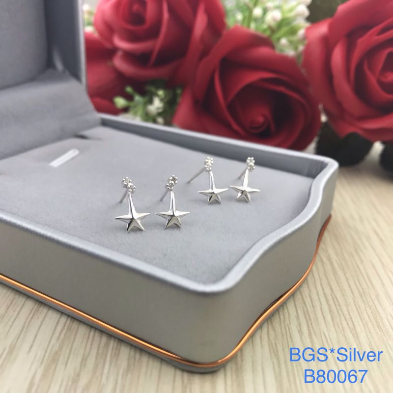 B80067 Bông tai bạc nữ đẹp độc lạ HCM