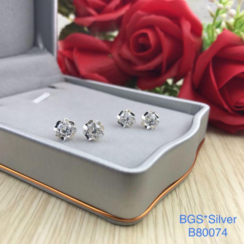 B80074 Bông tai bạc nữ hột trắng 4.5li đẹp độc lạ HCM
