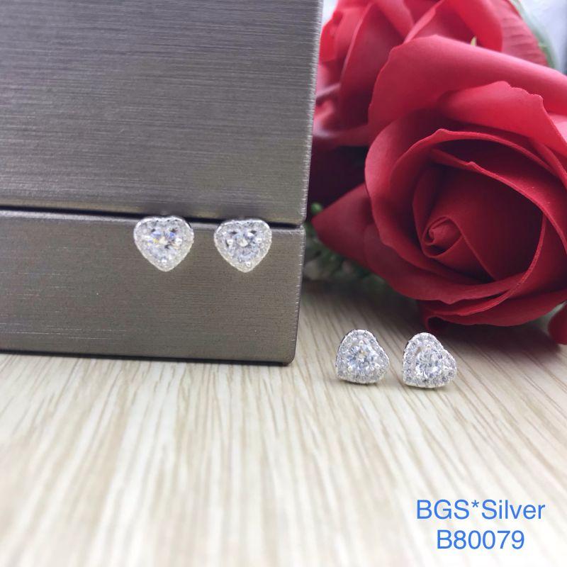 B80079 Bông tai bạc nữ tim hột chủ 3.5 li + viền bao 7 li đẹp độc lạ HCM