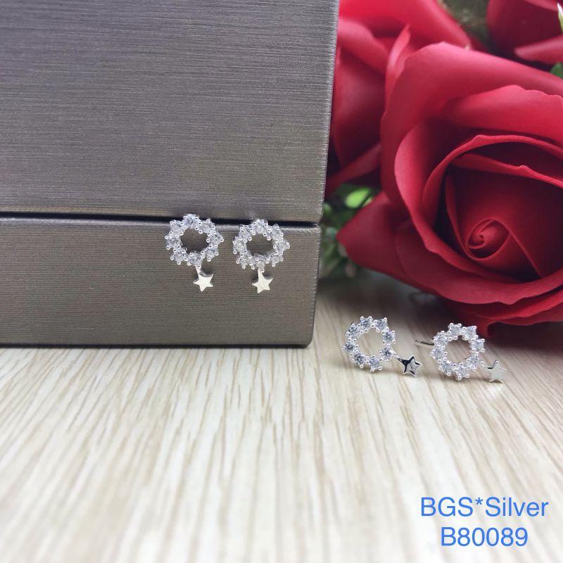 B80089 Bông tai bạc nữ đẹp độc lạ HCM