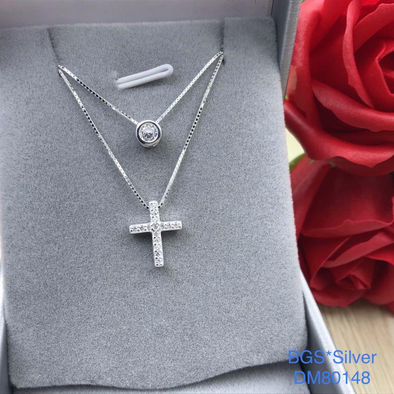 DM80148 Dây chuyền bạc nữ dây đôi thánh giá đẹp độc lạ HCM