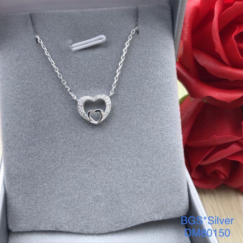 DM80150 Dây chuyền bạc nữ trái tim mẫu đẹp độc lạ HCM