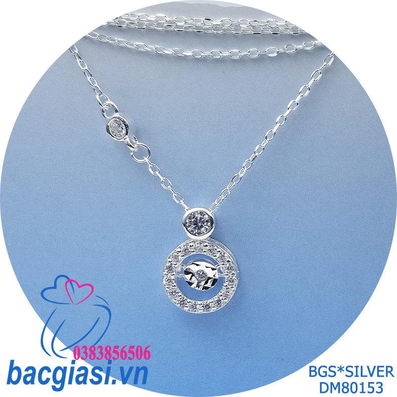 DM80153 Dây chuyền bạc nữ mẫu Ý đá trắng rung đẹp dễ thương Sài Gòn