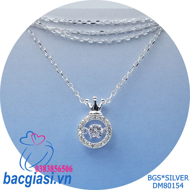 DM80154 Dây chuyền bạc nữ mẫu Ý vương miện đá trắng rung đẹp độc lạ HCM