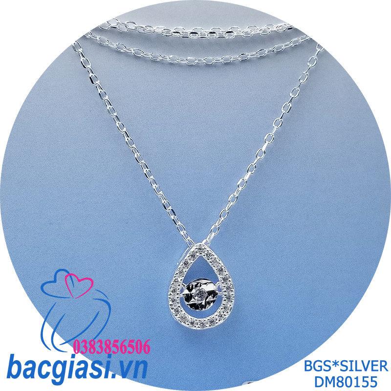 DM80155 Dây chuyền bạc nữ mẫu Ý giọt nước trắng đá rung đẹp độc lạ HCM