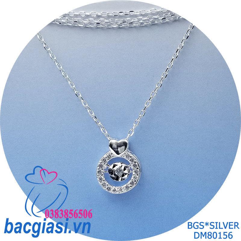 DM80156 Dây chuyền bạc nữ mẫu Ý tim đá trắng rung độc đáo lạ mắt đẹp độc lạ HCM