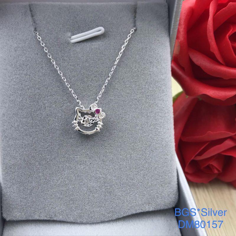 DM80157 Dây chuyền bạc nữ mèo hello kitty nơ hồng đáng yêu đẹp độc lạ HCM