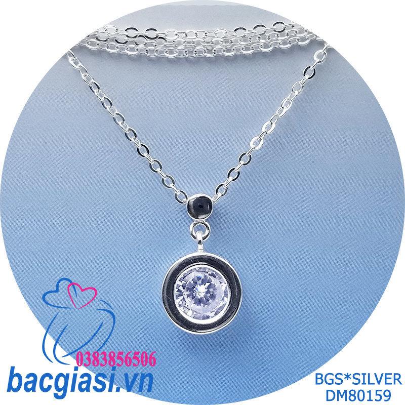 DM80159 Dây chuyền bạc nữ 1 viên đá trắng tròn mẫu Ý đẹp độc lạ HCM
