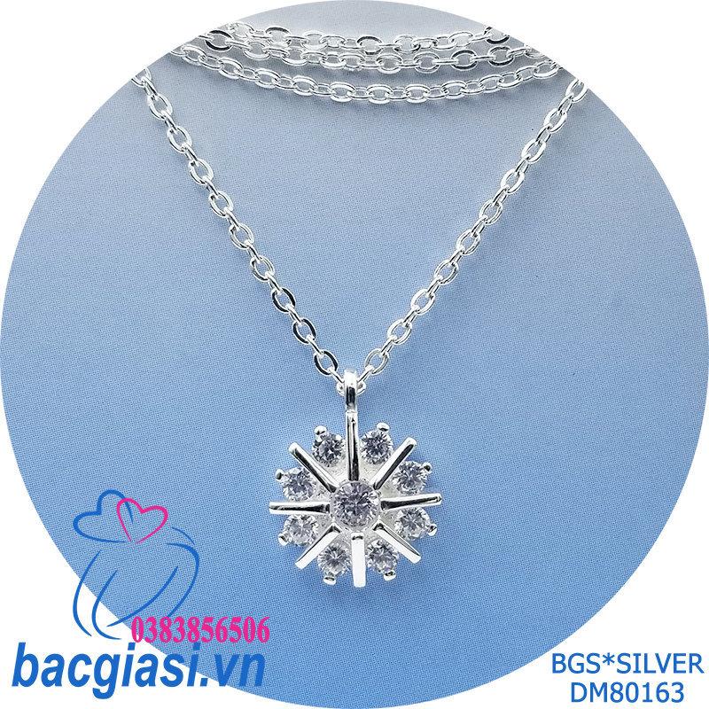DM80163 Dây chuyền bạc nữ hoa đá trắng mẫu Ý đẹp độc lạ HCM