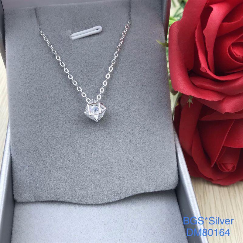 DM80164 Dây chuyền bạc nữ 1 viên trắng mẫu Ý đẹp độc lạ HCM