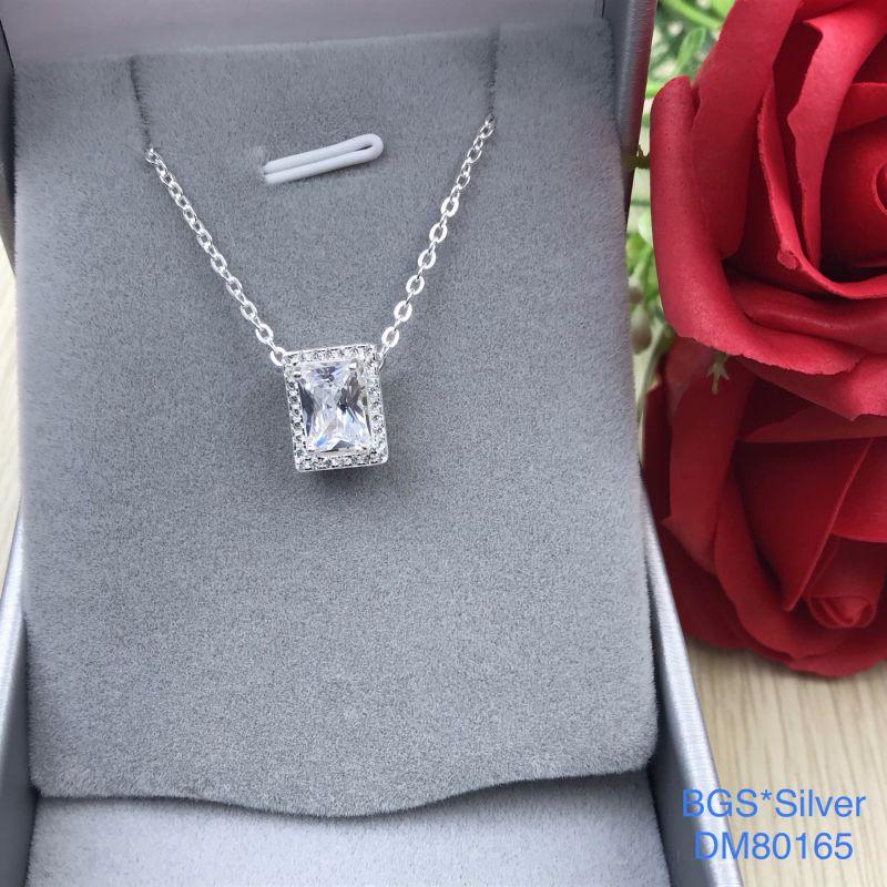 DM80165 Dây chuyền bạc nữ đá trắng chữ nhật sang trọng, quý phái đẹp độc lạ HCM