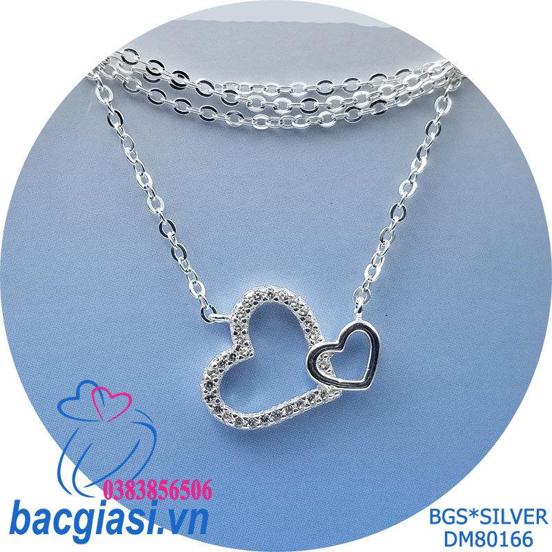 DM80166 Dây chuyền bạc nữ trái tim đá trắng đẹp độc lạ HCM