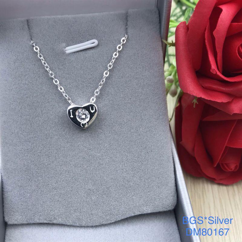 DM80167 Dây chuyền bạc nữ trái tim iloveu dễ thương đẹp độc lạ HCM