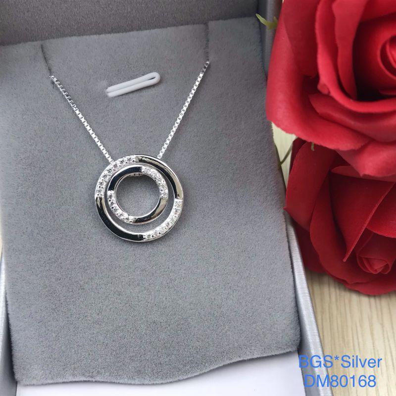 DM80168 Dây chuyền bạc nữ 2 vòng tròn lồng nhau dễ thương Sài Gòn