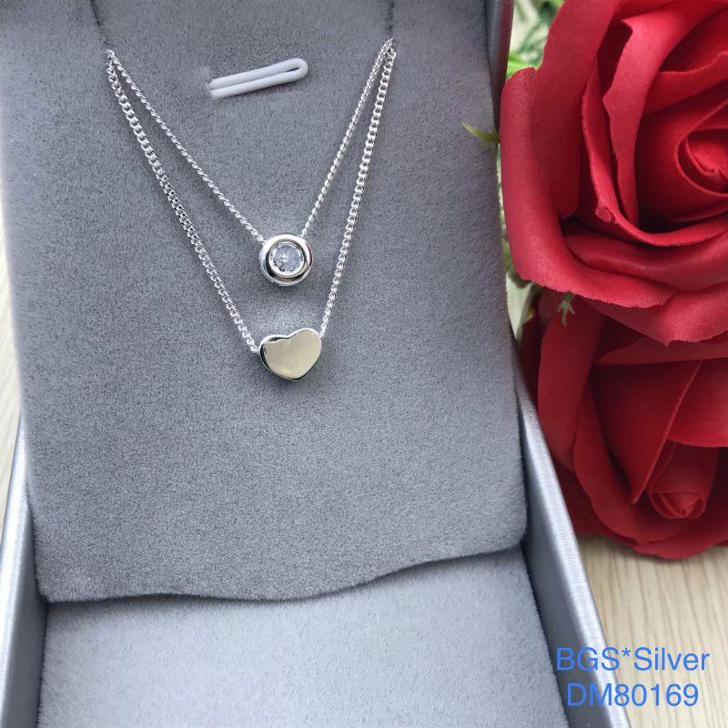 DM80169 Dây chuyền bạc nữ dây đôi trái tim yêu thương đẹp độc lạ HCM