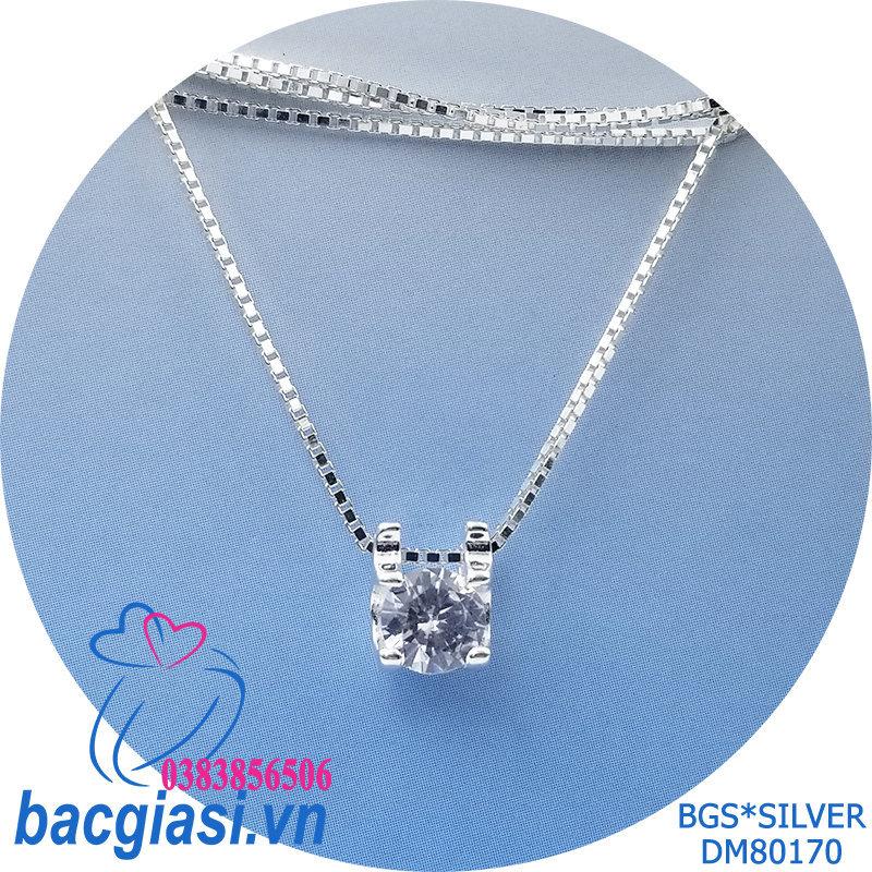 DM80170 Dây chuyền bạc nữ 1 viên đá trắng sang trọng đẹp độc lạ HCM