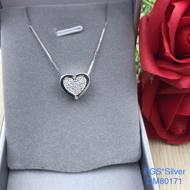 DM80171 Dây chuyền bạc nữ trái tim đá trắng độc đáo đẹp độc lạ HCM