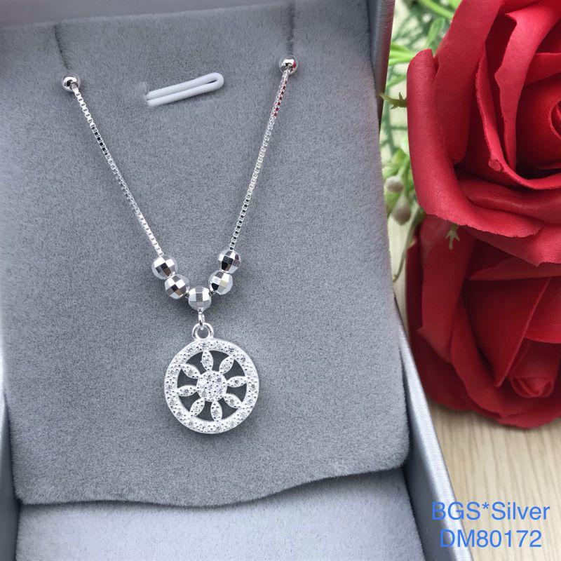 DM80172 Dây chuyền bạc nữ mẫu Ý hoa trắng đẹp độc lạ HCM