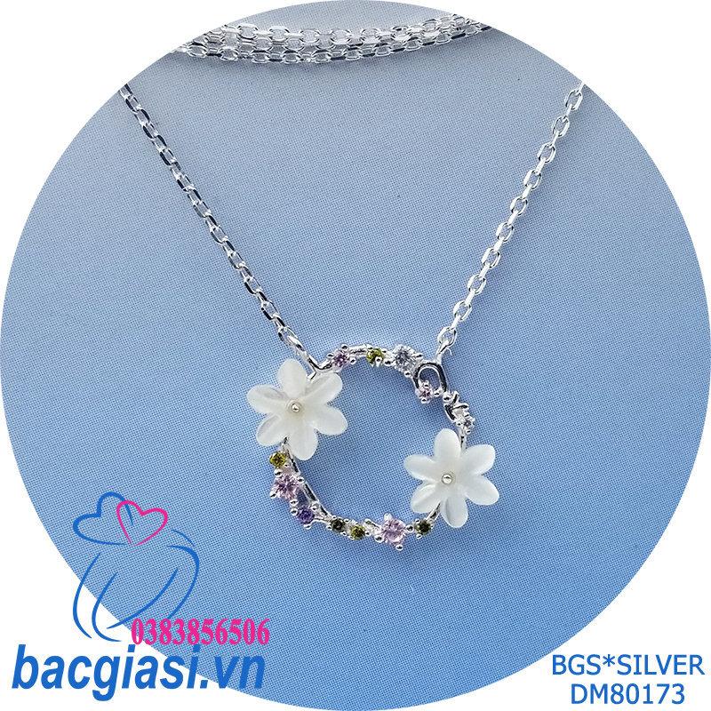 DM80173 Dây chuyền bạc nữ hoa trắng đẹp dễ thương đẹp độc lạ HCM