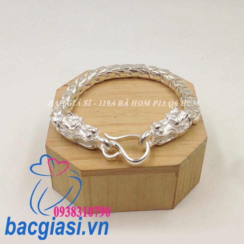 LA0051 Lắc tay bạc nam vảy rồng đầu rồng đẹp độc lạ HCM cỡ lớn 1L150