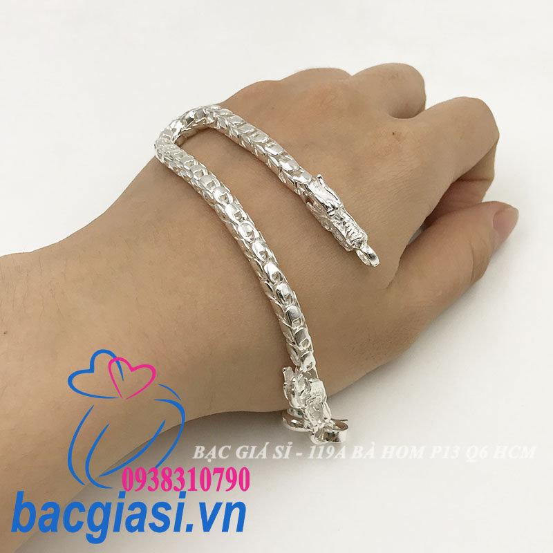 LA0050 Lắc tay bạc nam vảy rồng đầu rồng đẹp độc lạ HCM cỡ nhỏ 6C00
