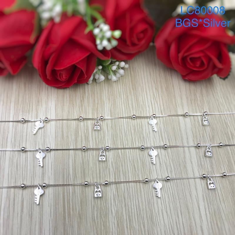 LC80008 Lắc chân bạc nữ ổ khóa-chìa khóa đẹp HCM