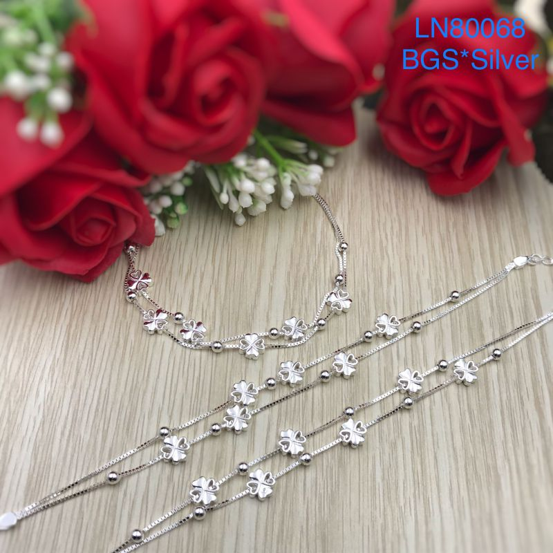 LN80068 Lắc tay bạc nữ cỏ 4 lá dây đôi đẹp độc lạ HCM