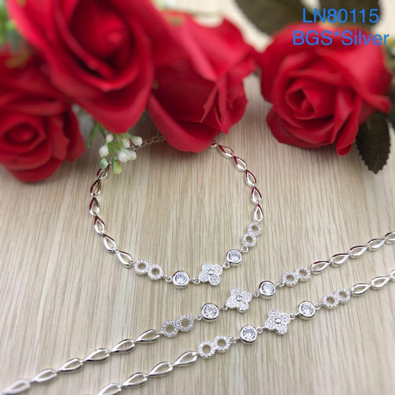 LN80115 Lắc tay bạc nữ hoa trắng dễ thương đẹp độc lạ HCM