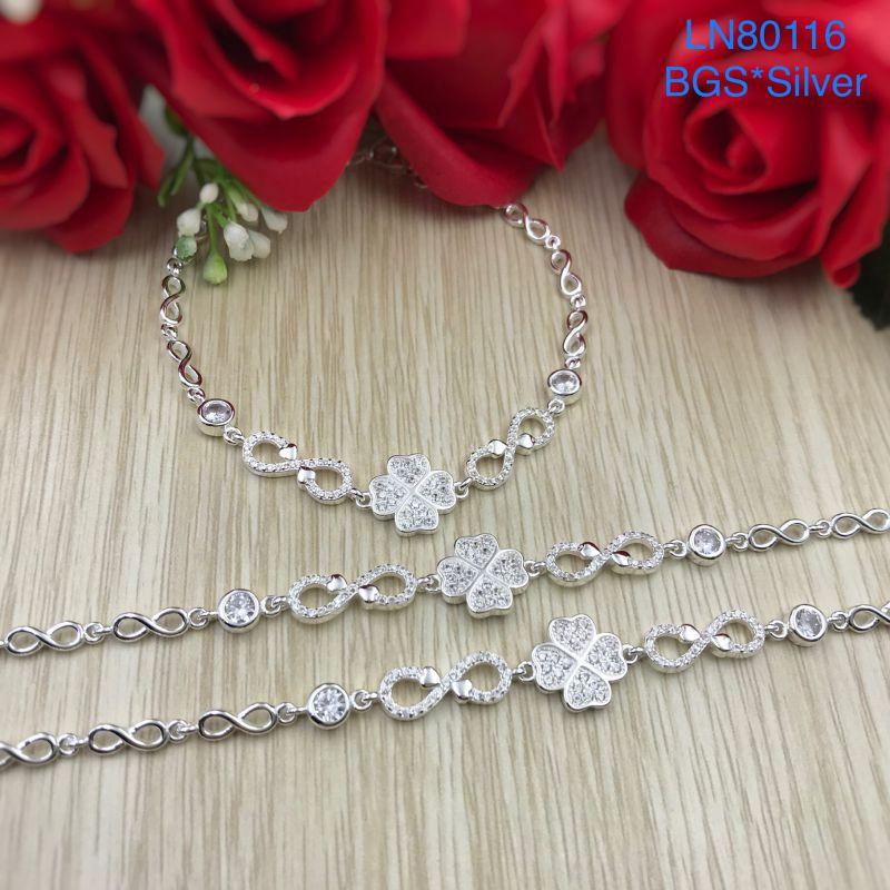 LN80116 Lắc tay bạc nữ hoa 4 lá đá trắng đẹp độc lạ HCM