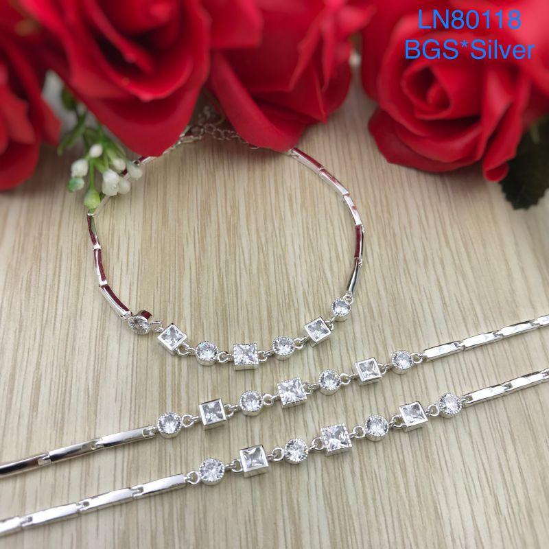 LN80118 Lắc tay bạc nữ đá vuông đẹp độc lạ HCM