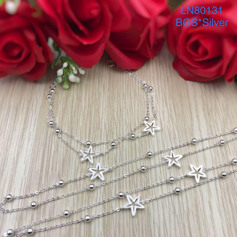 LN80131 Lắc tay bạc nữ ngôi sao dây đôi đẹp độc lạ HCM