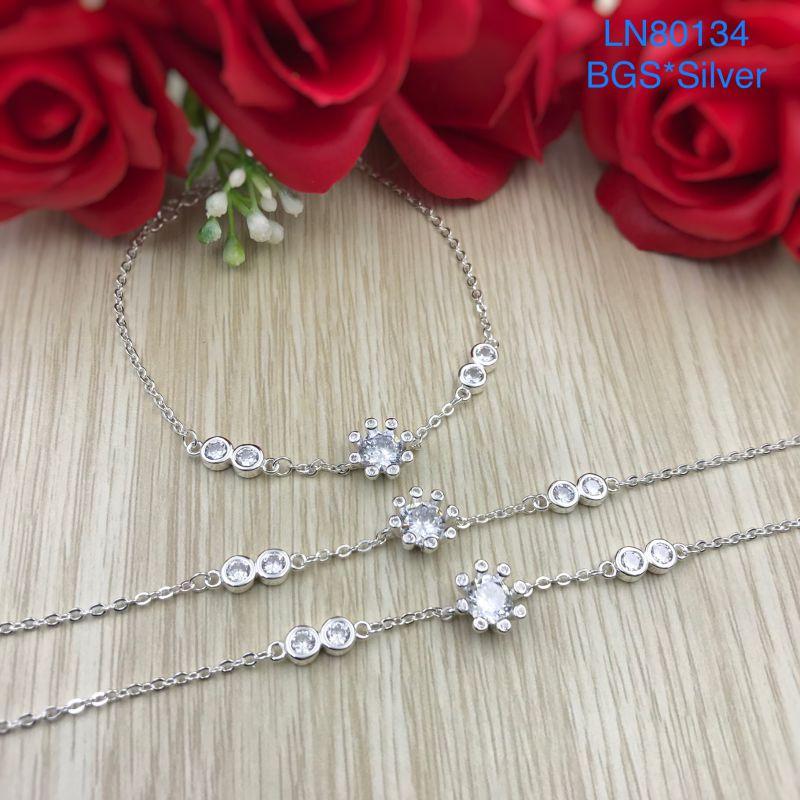 LN80134 Lắc tay bạc nữ hoa đá tắng lớn mẫu Ý đẹp độc lạ HCM