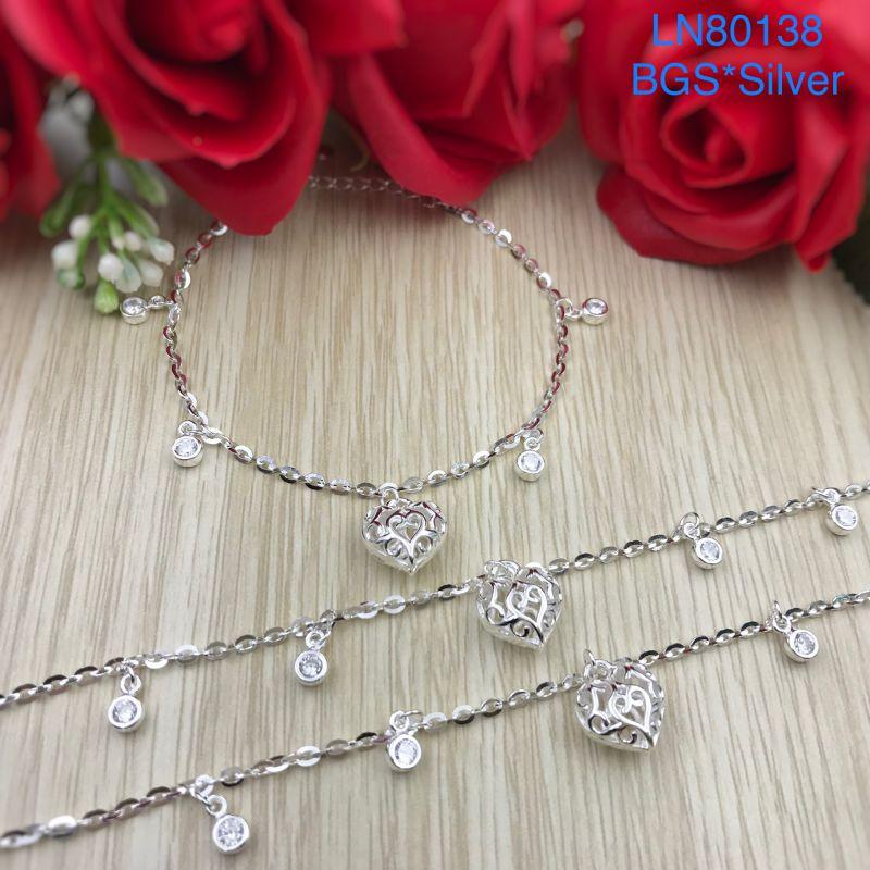 LN80138 Lắc tay bạc nữ tòn ten tim bạc phồng đẹp dễ thương độc lạ HCM