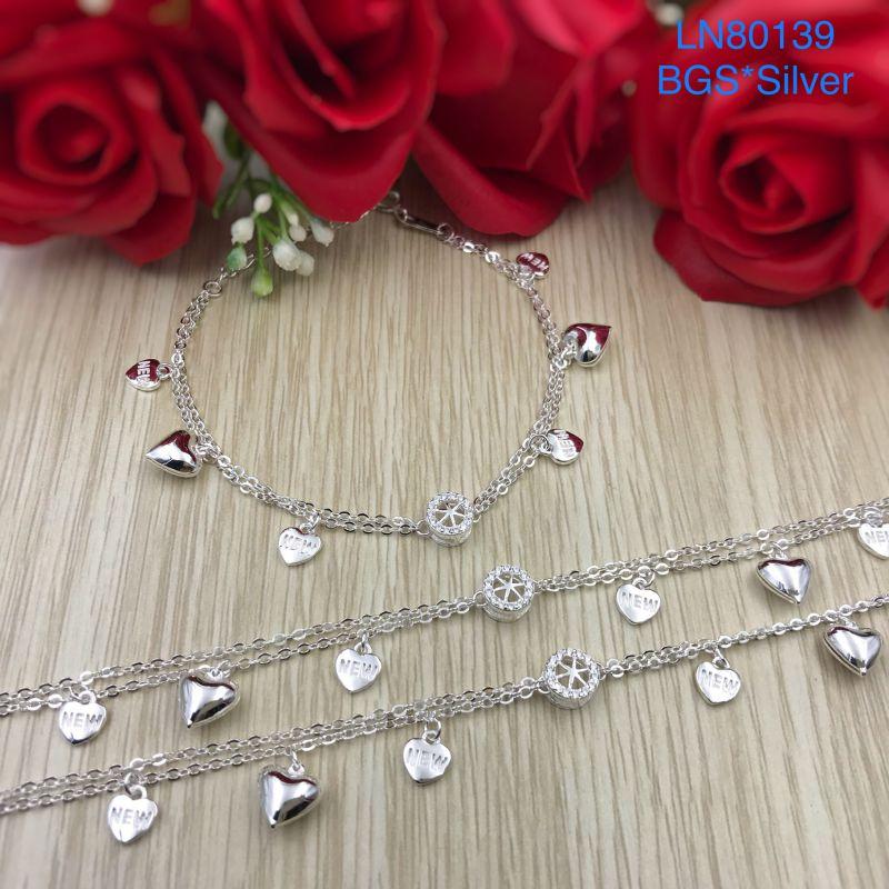 LN80139 Lắc tay bạc nữ tòn ten tim bạc mẫu Ý đẹp độc lạ HCM