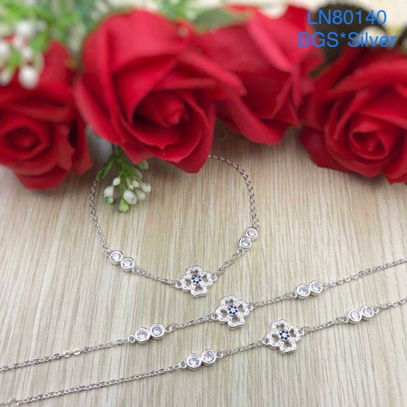 LN80140 Lắc tay bạc nữ hoa 4 cánh tim đẹp độc lạ HCM