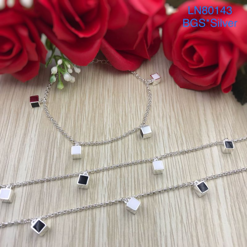 LN80143 Lắc tay bạc nữ tòn ten hình vuông bạc đẹp độc lạ HCM