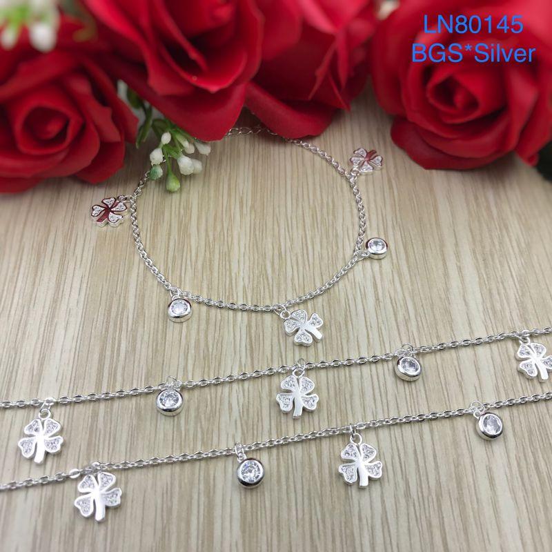 LN80145 Lắc tay bạc nữ tòn ten cỏ 4 lá dễ thương đẹp độc lạ HCM