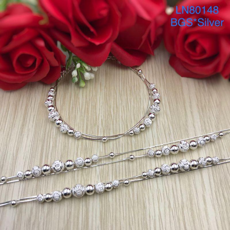 LN80148 Lắc tay bạc nữ bi bạc dây đôi mẫu Ý đẹp độc lạ HCM