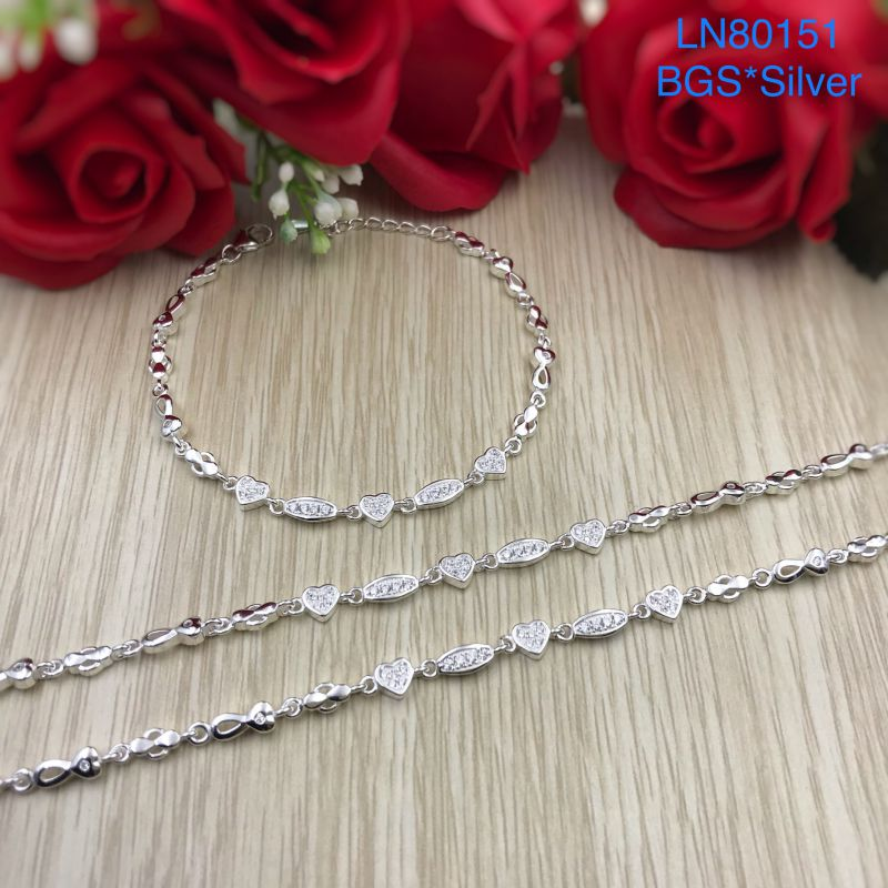 LN80151 Lắc tay bạc nữ tim kết mẫu Ý đẹp độc lạ HCM