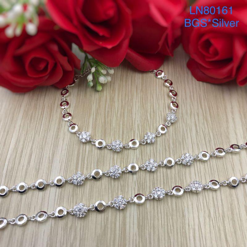 LN80161 Lắc tay bạc nữ hoa đá trắng đẹp độc lạ HCM