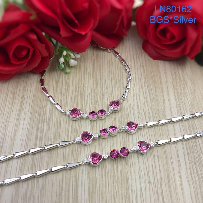 LN80162 Lắc tay bạc nữ tim đá màu cao cấp đẹp độc lạ HCM