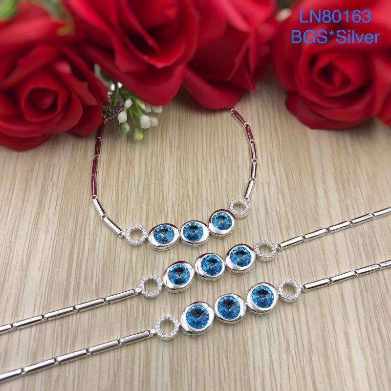 LN80163 Lắc tay bạc nữ đá màu cao cấp đẹp dễ thương độc lạ HCM