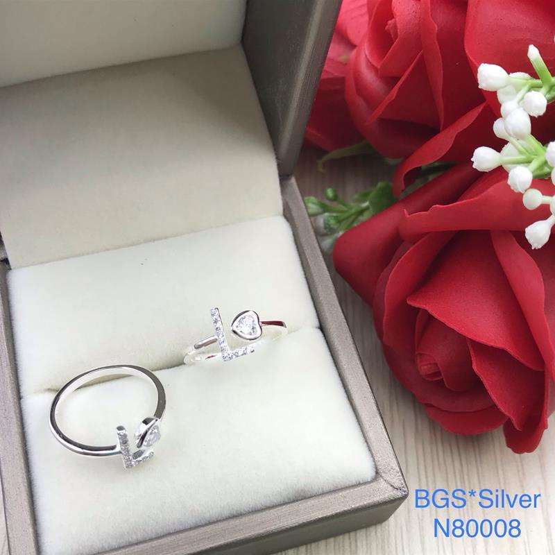 N80008 Nhẫn bạc nữ cao cấp đẹp độc lạ HCM (Freesize)