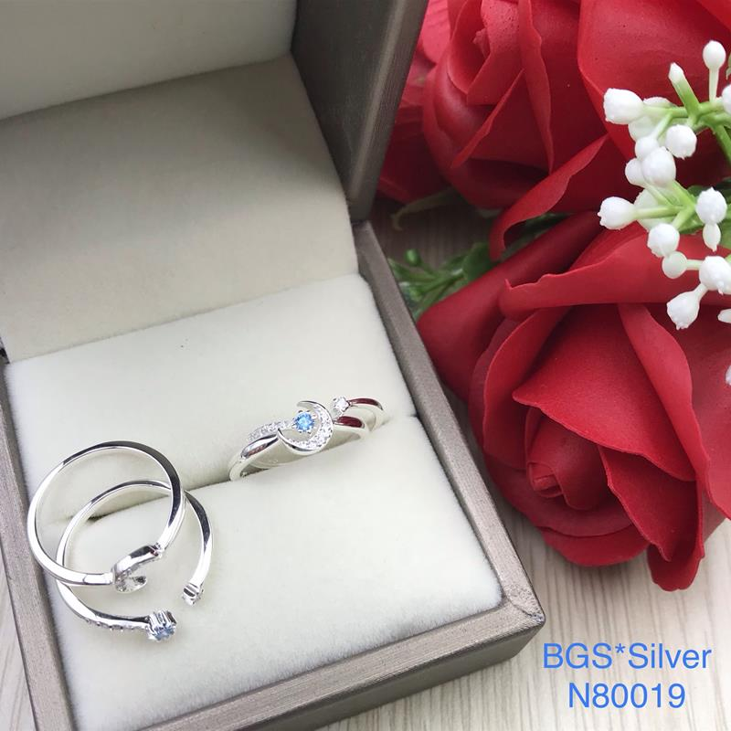 N80019 Nhẫn bạc nữ kiểu ghép đôi 2 chiếc lồng nhau (size 12) cao cấp đẹp độc lạ HCM