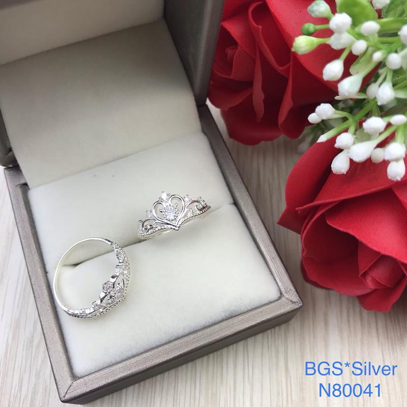 N80041 Nhẫn bạc nữ cao cấp đẹp độc lạ HCM (Size 15)