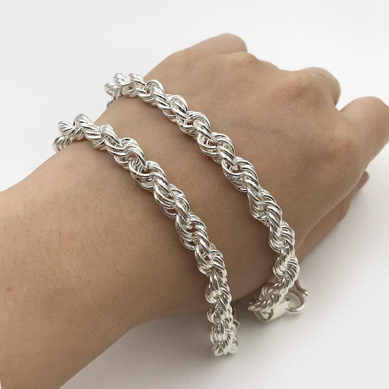 LA0054 Lắc tay bạc nam xoắn 6C40 đẹp độc lạ HCM