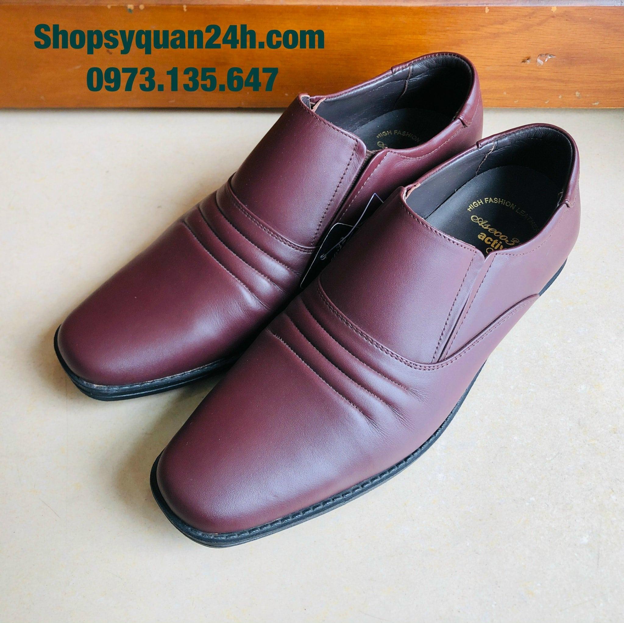 Giày Da Công Sở 3 Sọc Da Cừu Đế Hơi Mã FFM-714-AIR-1 (NÂU)