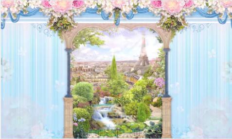 Tranh bích hoạ phong cảnh Châu Âu TBH146