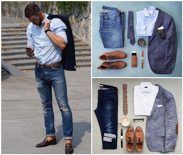 Dress shirt mix cùng quần Jean