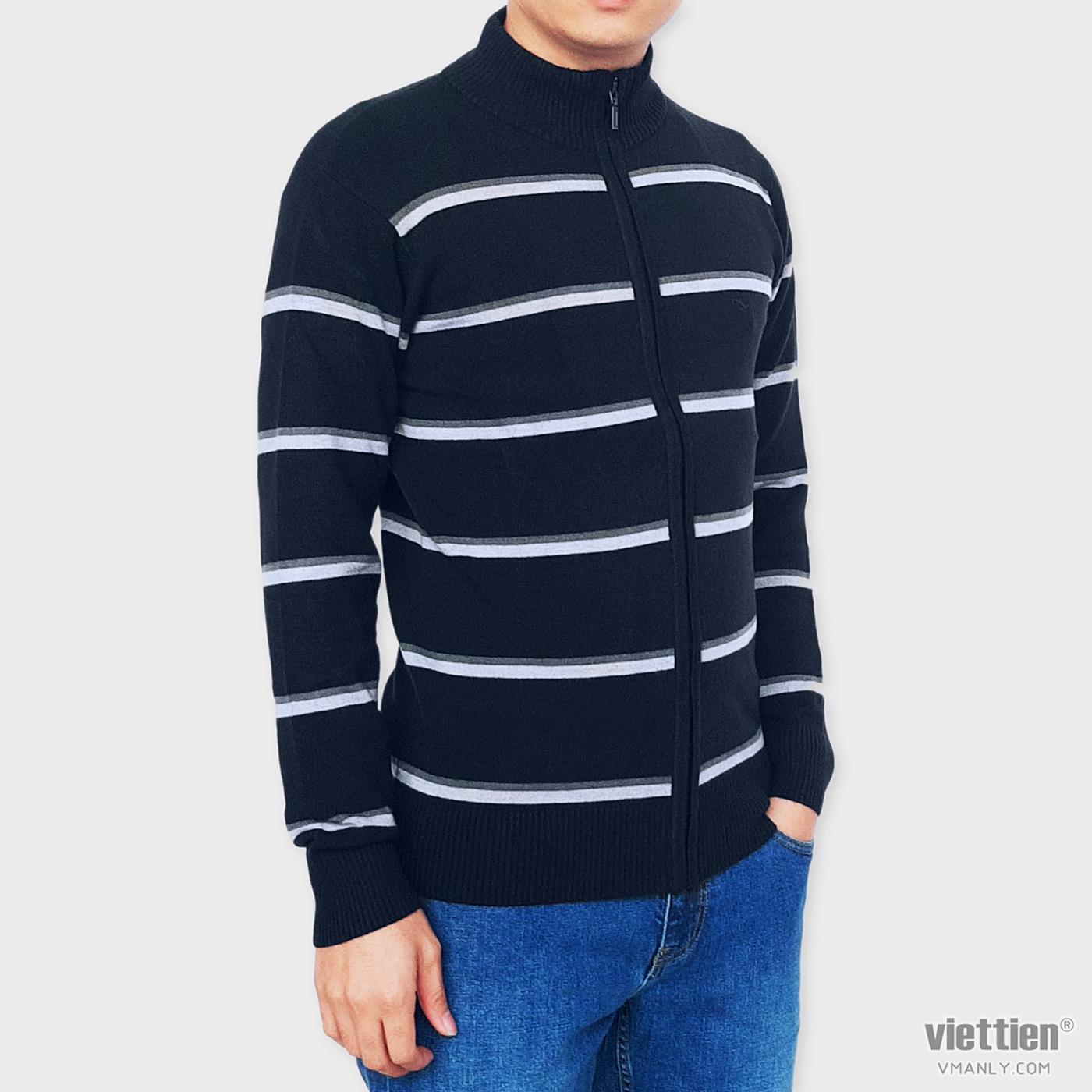 Áo khoác len Việt Tiến cổ cao 6 phân màu xanh sọc ngang 6E9011CH4/LK